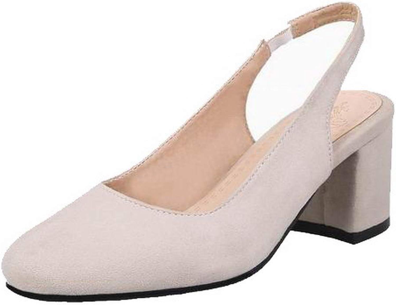 WeenFashion Women's Kitten-Heels Imitated Suede Solid Pull-On Round-Toe Sandals, AMGLX010280