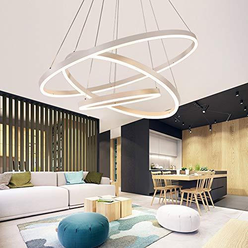 LED Hängelampe/Pendelleuchte Wohnzimmerlampe Schlafzimmerlampe Deckenleuchte Kronleuchte Dimmbar mit Fernbedienung, Modern Chic 3 Ring Design Metall Acryl Badlampe Esszimmer Flur Lampen Hängeleuchte
