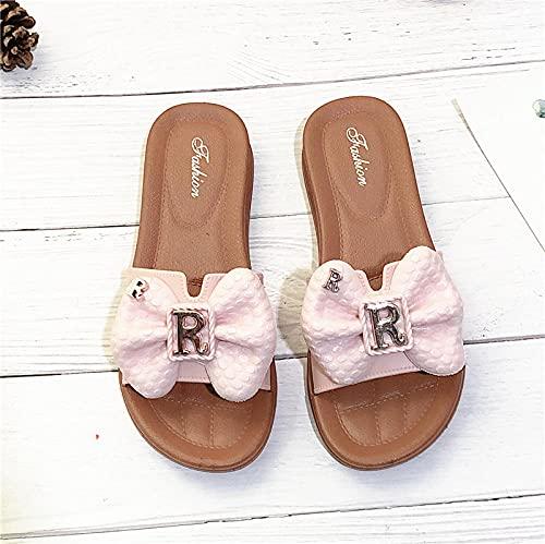 Ririhong Zapatillas de Estilo Nuevo para Mujer, Ropa de casa de Verano, Moda, Playa, Fondo Suave, Sandalias y Zapatillas Impermeables-Pink_36