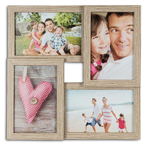 levandeo Bilderrahmen Collage B x H: 28x28cm 4 Fotos 10x15 Eiche gekälkt MDF Holz fertig montiert Glas