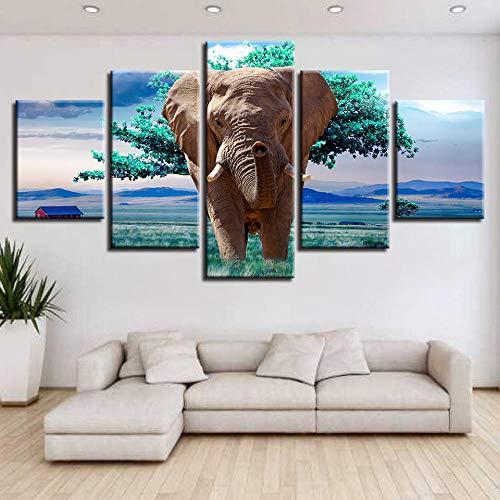 WENXIUF Cuadro sobre Lienzo 5 Partes Paisaje de Elefante Animal Verde,Imprimir En Lienzo HD Cuadros para Dormitorios Modernos, Marco De Madera 100X55CM Listo para Colgar Moderno Decorar