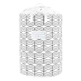 23.6' Large Laundry Basket Collapsible Laundry Hamper Drawstring Waterproof Storage Baskets Round Cotton Linen Dirty Clothes Hamper (Black and White Grids)