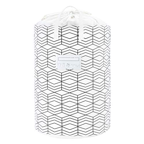 23.6 Large Foldable Laundry Basket Collapsible Clothes Hamper Drawstring Waterproof Laundry Hamper Round Cotton Linen Storage Baskets Home Organizer(Black and White Grids)