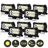 Hengda 10x 72W LED Arbeitsscheinwerfer 12V 24V LED Zusatzscheinwerfer 46000LM Scheinwerfer für...