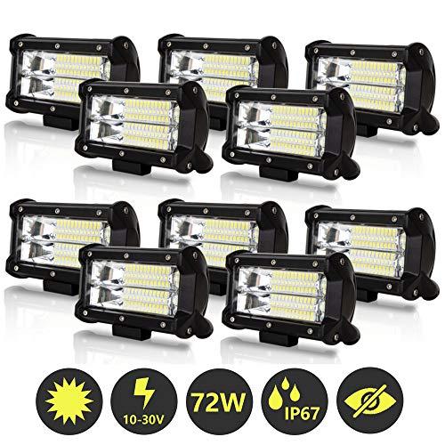 Hengda 10x 72W LED Arbeitsscheinwerfer 12V 24V LED Zusatzscheinwerfer 46000LM Scheinwerfer für Traktor, Offroad, SUV, ATV, Auto Rückfahrscheinwerfer IP67, 6500K