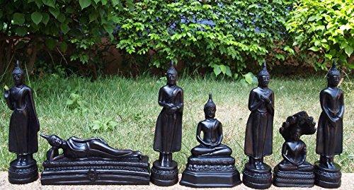 BESONDERE Buddha - sehr grosse, 7 Stück Buddha Figuren Sonntag, Montag, Dienstag, Mittwoch, Donnerstag, Freitag und Samstag, - bis zu 18 cm hoch - WETTERFEST - ORIGINAL UND NEU HANDARBEIT AUS CHIANG MAI THAILAND