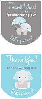 90 Hand Sanitizer Labels Thank You Stickers Baby Shower Favors Gray Elephant (Blue)