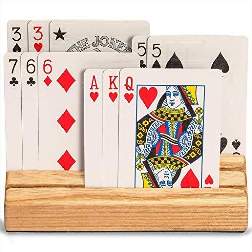 TX NIÑA Titular De La Tarjeta De Juego De Madera Bandeja De Rack Naipes Base Organizador For Niños Adultos De Póker De Accesorios El Manual Gratuito (Size : 5.78x2.24x3.15inch)