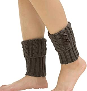 GAOYUE Mujeres Invierno Botón Twisted Knitted Leg Warmers Calcetines Short Boot Topper Puños Mujeres Crochet Boot Cuffs Knit Leg Warmers Calcetines, Gris Claro