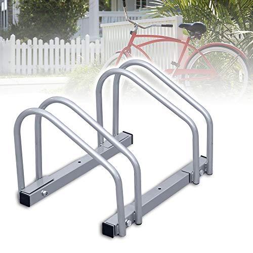 wolketon Fahrradständer für 2 Fahrräder, Stahl Aufstellständer Radständer Fahrrad Bike Ständer Metall Platzsparend
