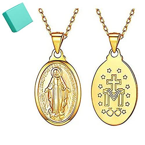 Collar de la Virgen María - Plata de Ley 925 Medalla Milagrosa de la Santísima Virgen María Collar con Colgante de Encanto Católico para Mujeres Hombres, Collar Religioso de Monedas (Oro)