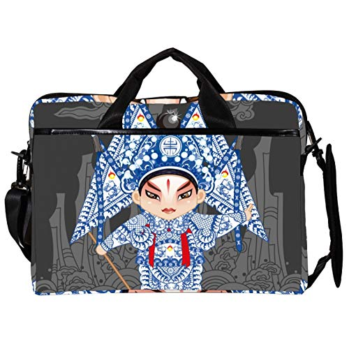 Unisex Computer Tablet Satchel Bag,Lightweight Laptop Bag,Canvas Travel Bag,13.4-14.5Inch with Buckles Chinese Peking Opera Actress