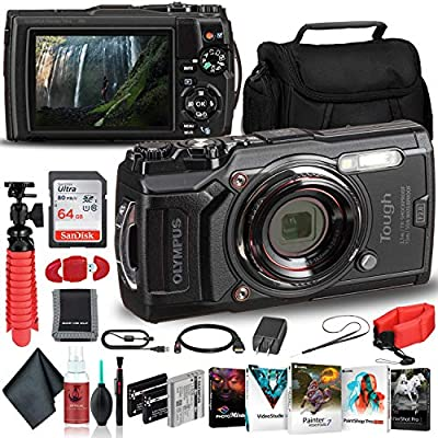 Olympus Tough TG-6 Waterproof Camera - Adventure Bundle - with 2 Extra Batteries + Float Strap + Sandisk 64GB Ultra Memory Card + Padded Case + Flex Tripod + Photo Software Suite + More from Olympus