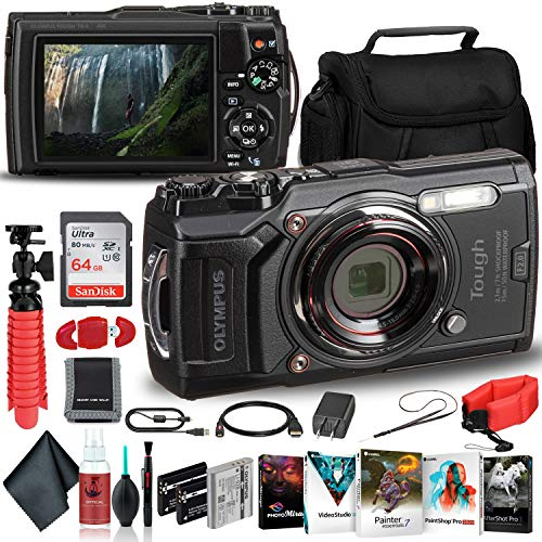 Olympus Tough TG-6 Waterproof Camera (Black) - Adventure Bundle - with 2 Extra Batteries + Float Strap + Sandisk 64GB Ultra Memory Card + Padded Case + Flex Tripod + Photo Software Suite + More