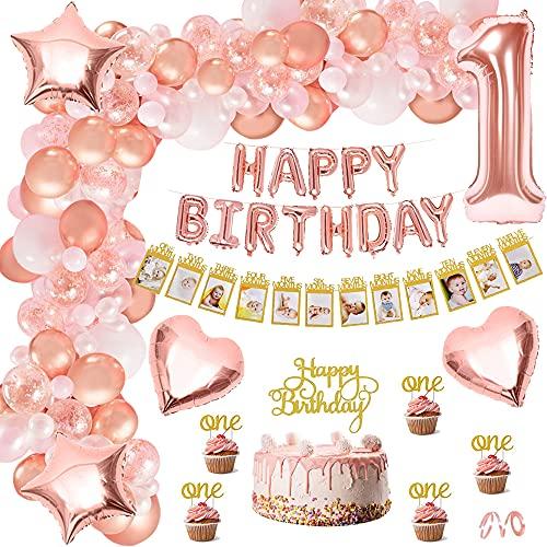 Décoration Anniversaire 1 An Fille Or Rose,Première Anniversaire Fête avec Baby Mois Bannière De Photo,1st Rose Gold Latex Confetti Foil Ballons,Bannière Anniversaire pour Fille De Bébé