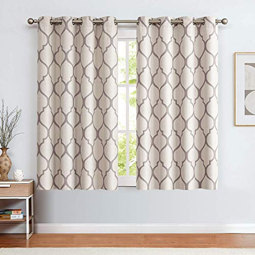 """jinchan Linen Textured Curtains Moroccan Tile Design Curtains Panels Room Darkening Bedroom Living Room Thermal Insulated Window Treatment Drapes 2 Panels 45"""" L Grey"""