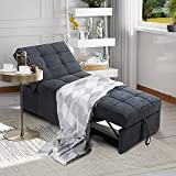 Meilocar Convertible Chair Sofa Bed, Pull Out Sleeper Chair, 4 in 1 Multi-Function Single Chair Bed w/ 3 Position Adjustable Backrest for Small Space Apartment, Study Room or Office (Dark Gary)¡
