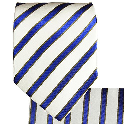 Cravate bleu rayé ensemble de cravate 3 Pièces ( longueur 165cm )