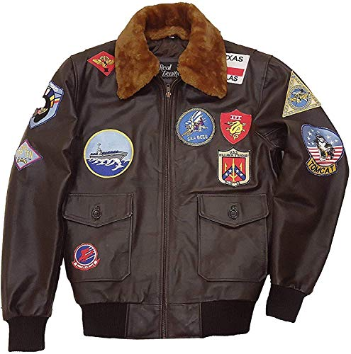 Top Gun Jacket for Men Tom Cruise Top Gun Flight Jacket WW2 Bomber Jackets (Brown, Medium)