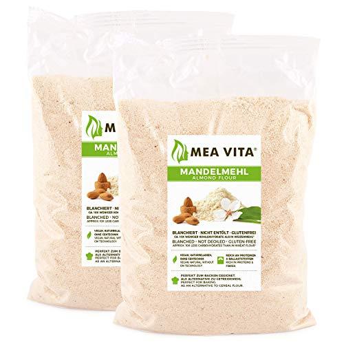 MeaVita Mandelmehl, naturbelassen, blanchiert, (2 x 1000g) gemahlene Mandeln zum Backen, 100{dc6bdcca109dd4222f2572cdc391e42c83078804349832f8a4a03fec5754215a} natürlich proteinreich