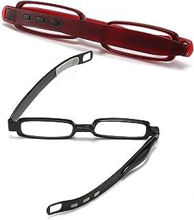 2-pair Reading Glasses Black - Red, 360º Rotating Lightweight Folding Reader, TP90 Frame Narrow Resin Lens, For Women Men ...