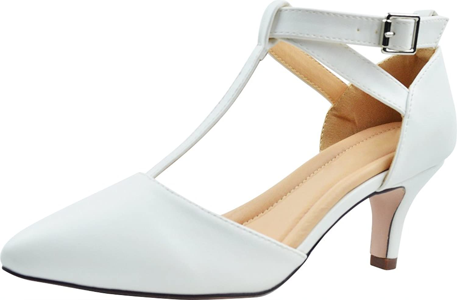 Cambridge Select Women's Closed Pointed Toe T-Strap Buckled Low Kitten Heel Pump