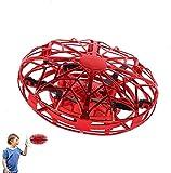 JCT Dron para Niños Mini Drone UFO Flying Ball para Niños de 4-10 Nños Juguetes Voladores Controlados A Mano, Bola De Helicóptero Rotación de 360 ° y Luces LED Niños Niños Niñas Juguetes (Red)