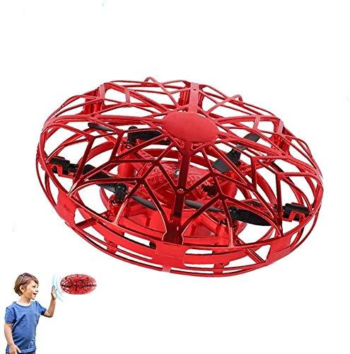 JCT Mini UFO Drone Palla Volante 4-12 Bambini Palla Volante Giocattoli Volanti Controllati a Mano Ricaricabile, Rotanti A 360 ° con luci a LED Auto-Avoid Ostacoli per Bambini Regali Natale (Red)