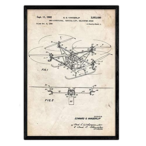 Nacnic Poster con Patente de Dron helicoptero. Lámina con diseño de Patente Antigua en tamaño A3 y con Fondo Vintage