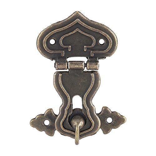 Fallenschloss aus Bronze, Schrankschloss, 63 x 48 mm, antiker Stil, für kleine Schmuckkästchen, Koffer und Schränke, 10 Stück.