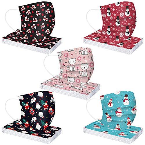 Adulto Protección 3 Capas Transpirables con Elástico para Los Oídos Impresión navideña Antipolvo Pack 50 Unidades(en Caja) (5 * 10 Pcs(En Caja), A)