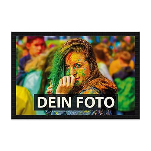 Fußmatte Bedrucken mit eigenem Foto - Verschiedene Größen bis 120 cm - Fußabtreter selbst gestalten - rutschfest, 60 x 40 cm mit Gummirand