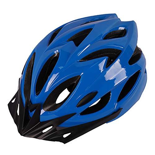 YATT Casco De Bicicleta, Moldeado De Una Pieza 18 Hoyos Cómodo Transpirable con Visera De Sol Tamaño Ajustable Ligero Casco Azul para Montar En Carretera Apto para Adultos