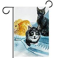 ホームガーデンフラッグ両面春夏庭の屋外装飾 28x40in,動物猫