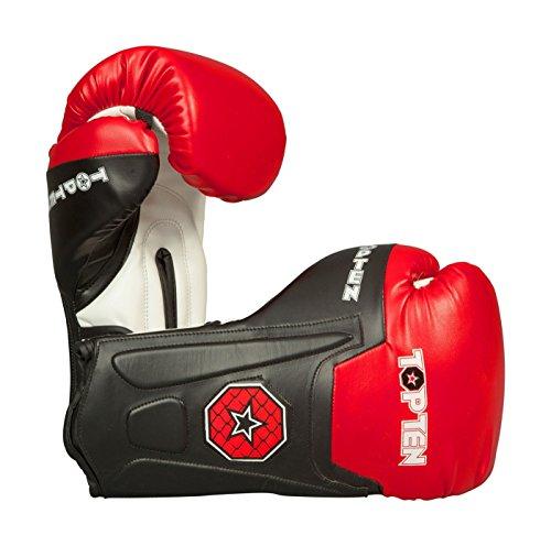 TOP Ten Boxhandschuhe/Sparring Handschuhe Line 12 14 16 oz schwarz/rot ideal für Boxen, Kickboxen usw. 16oz