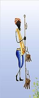 Tejas Enterprises Rajasthani Man Key Holder 3 hook | Wraught Iron Wall Hanging | Wall Mounted Hanging Metal Art Decor Colo...