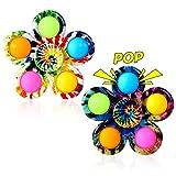 GOHEYI Pop Fidget Spinner Pack, Party Favor Tie Dye Simple Fidget Toys, Push Bubble Fidget Popper Spinners, Bulk Sensory Toy Relieve Emotional Stress for ADHD Kids Adults