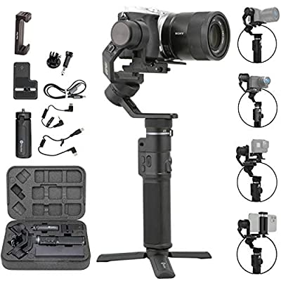 FeiyuTech G6 Max 3-Axis Handheld Gimbal Stabilizer (G6 Plus Upgrade Ver) for Mirrorless Camera Like Sony a7 w/Short Lens,Action Camera Gopro,Smart Phone iPhone 11 Pro Max 8,1.2Kg Payload,Splash Proof from FeiyuTech