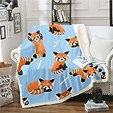 Feelyou Red Panda Throw Blanket Cute Animal Pattern Blanket for Kids Boys Girls Cartoon Panda Printed Fleece Blankets Wildlife Style Plush Blankets Child Room Decor Fuzzy Blanket Twin 60'x80' Blue