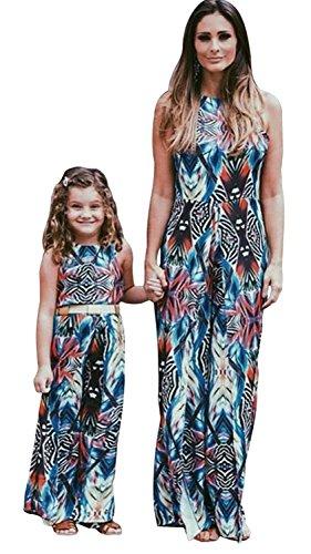 Tomsent Senza Maniche Senza Schienale Vestito Per Madre e Figlia Vestire Casual Genitore-Bambino Famiglia Stampa Abito da Partito Cocktail Blu 90 (Ragazza)
