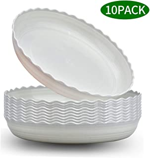 Wave Plant Saucer 10 Packs 8 Inch Plastic Flower Pot Tray Durable Heavy Duty Plant Trays for Indoor and Out Door Plant