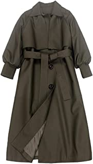 Women Long Trench vintage high quality casual loose trench coat with sashes overcoats windbreaker outwear