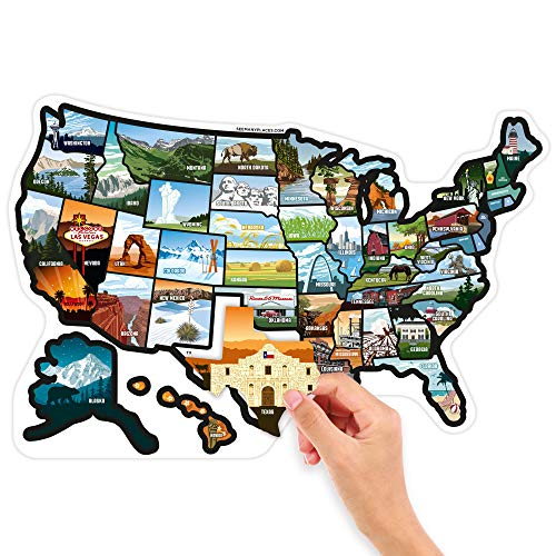 """Product Image 5: SEE MANY PLACES .com RV State Stickers United States Travel Camper Map RV Decals for Window, Door, or Wall ~ Includes 50 State Decal Stickers with Scenic Illustrations (21"""" x 14.5""""/Large) See Many Pla"""