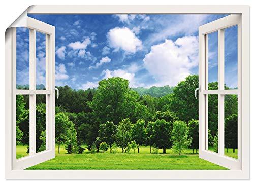 Artland Poster Kunstdruck Wandposter Bild ohne Rahmen 70x50 cm Fensterblick Fenster Wald Natur Landschaft Baum Sommer Wiese Himmel T5ML