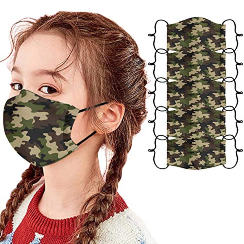 Lulupi 5er Pack Kinder Mundschutz Multifunktionstuch 3D Druck Bandana Maske Waschbar Staubdicht Stoffmaske Camouflage Atmungsaktiv Mund-Nasen Bedeckung Tiermotiv Halstuch Schals Jungen Mädchen