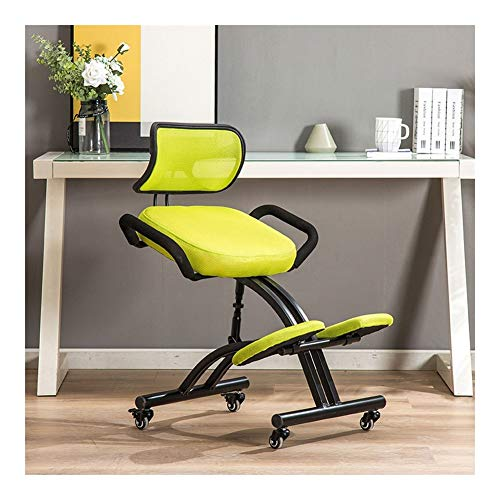 LLNN Kneeling Chair with Armrests and Back Support Improve Posture and Relieve Neck and Back Pain The Best Office Chair (Color : A)