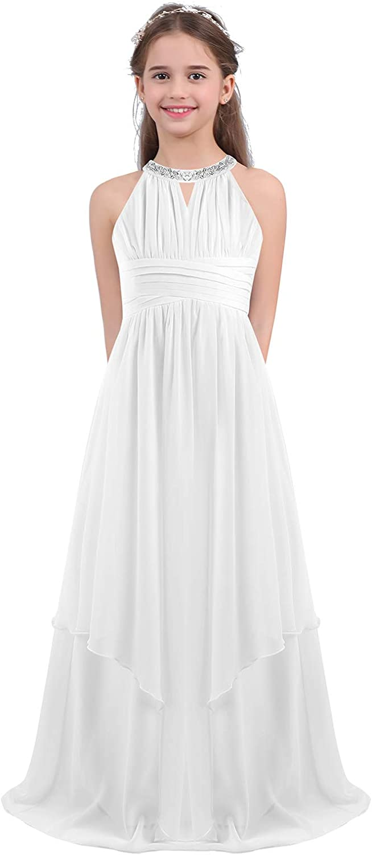 FEESHOW Kids Big Girls Beaded Halter-Neck Ruffle Junior Bridesmaid Dress Evening Party Dance Wedding Long Gown