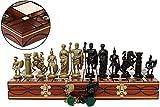 Master of Chess Spartan 41x41cm Juego de Ajedrez Decorativo Piezas Romanas de PLASTICO y Tablero de Ajedrez Grande para Adultos y Niños