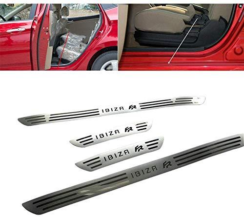 4 Piezas Decoración para estribos de coche para SEAT Ibiza FR ST 6L 6J MK3 MK4 MK5 2002-2018,Acero Inoxidable Tiras Umbral Protector Cubierta Bienvenida Pedal Automóviles Desgaste Accesorios de Coche