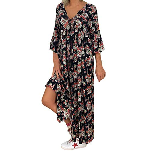 JXQ-N Robe De Plage Femme Boheme Grande Taille Robe Ete Femme Boho Longue Chic Fleurie Robe à Manches Longues X-5XL